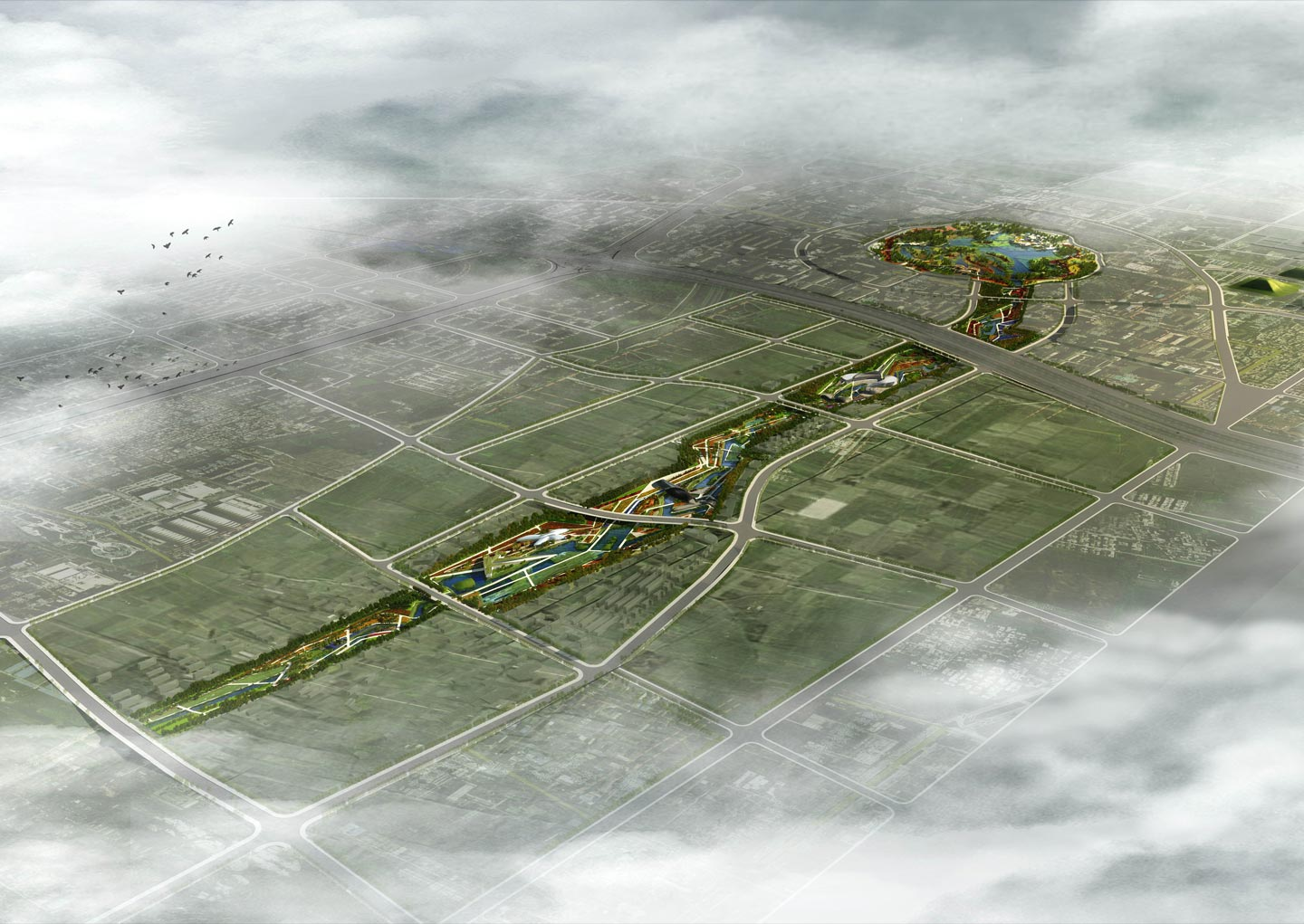 waa QuJiang Wetland Landscape Competition Top View 西安曲江创意谷湿地公园中标俯视图